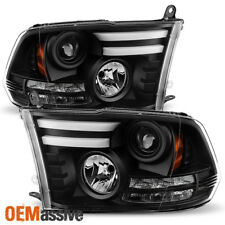 Fit 13-18 Dodge Ram 1500/2500/3500 Black DRL Tube LED Signal Projector Headlight