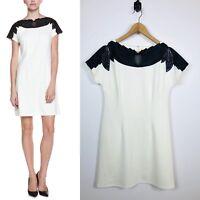 NWT Womens Catherine Malandrino Medium Ivory Bridget Ponte Dress Black