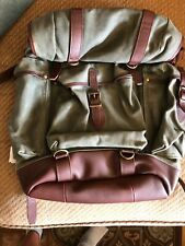 LL Bean Waxed Canvas Continental Ruck Sack Backpack Olive Green And Leather