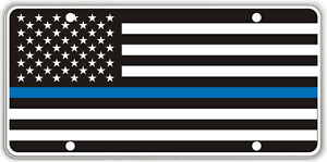 Thin Blue Line over Black & White US Flag Souvenir License Plate