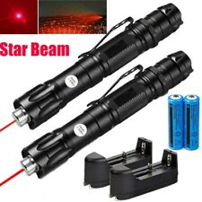 2Pc 900Miles 650nm 2in1 Red Beam Laser Pointer Pen+18650 Battery+Smart Charger