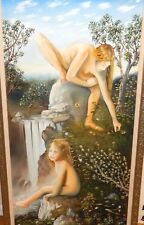 HUGE ORIGINAL OIL ON CANVAS NUDE WOMAN AND CHILD PAINTING SIGNED
