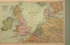 1908 Carte Îles Britanniques Holland Belgique Danemark Irlande Angleterre Écosse
