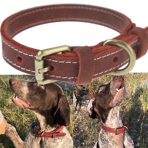 Leather Dog Collar, Anti-Bite Puppy Poodle Collar, Padded Retro Collar Vintage