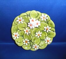 """Vintage Inarco Plate Green Apples & Daisies 7 1/2"""" Relish Dish Raised/Signed"""