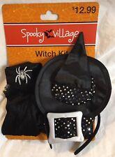 Witch Halloween Costume Accessory Kit Hat Chocker Belt Gloves Girls - NWT