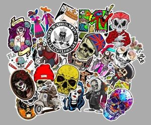 UK 50 Skull Cool Sticker Pack Decal Vinyl Guitar Luggage Tide Skateboard Laptop