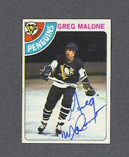 Greg Malone signed Penquins 1978-79 Topps hockey card