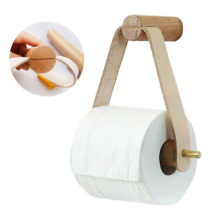 Wooden Toilet Paper Holder Wall Mount Towel Roll Storage Bathroom Bath Rack Kit