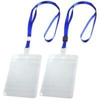 2 Pcs ID Card Badge Holder Adjustable Neck Strap Lanyard Blue Clear O6M1