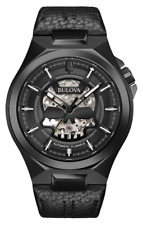 Bulova Classic Automatic Skull Skeleton Dial Leather Band Men's Watch 98A238