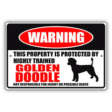 Warning This Property Is Protected By Trained Golden Doodle Aluminum Metal Sign