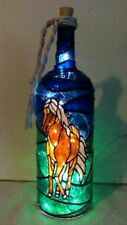 Horse Lover Bottle Lamp Handpainted Stained Glass Look