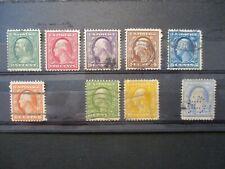 1911 US S#374-382 Washington issue 1-15c sl wtmk used set some imperfections