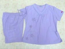 Reina Scrubs Medical Uniform Pants & Top Set Size Medium Light Purple Embroidery