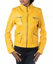 Ladies Yellow Leather Smart Mandarin Collar True Sizing Zipped Stud Biker jacket