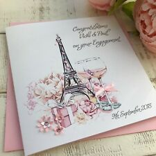 Handmade Personalised Engagement Card with Eiffel Tower Son Daughter Sister Mum