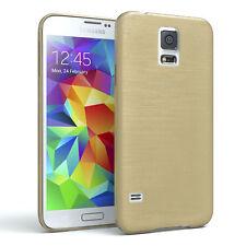 Schutz Hülle für Samsung Galaxy S5 / Neo Brushed Cover Handy Case Gold