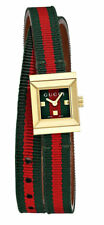 Gucci G-frame Yellow Gold PVD Steel Green Red Green Web Canvass Watch YA128527