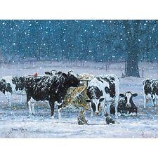 Bonnie Mohr One Snowy Night Cow and Farm Country Art Print- 16 x 12