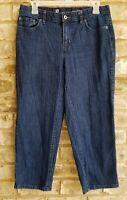 Liz Claiborne Womens SZ 8 Jeans Cropped Capri Dark Wash Stretch Straight