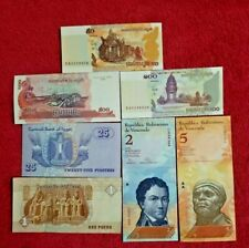 Uncirculated Lot of 7  Different Foreign PAPER MONEY BANKNOTES WORLD CURRENCY