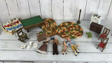 Vtg Lot Dollhouse Furniture Caco Dolls Pool Table Chairs Dresser Rugs Stove