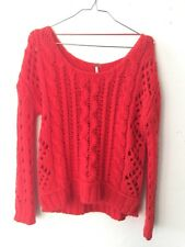 Free People Solid Red Sweater XS Open Cableknit Lipstick Bright wool Pullover