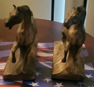 Vintage Solid Brass Horse Bookends
