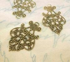 10pc antique bronze 40x28mm filigree wrap-6657
