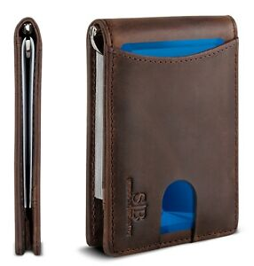 SERMAN BRANDS- Genuine Leather RFID Blocking Slim Minimalist Front Pocket Wallet