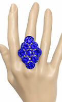 Royal Blue Acrylic Crystals Adjustable Bold Statement Stretchable Cocktail Ring