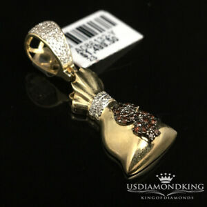 10K Yellow Gold Genuine .25ct Brown Diamond American $ Money Bag Pendant Charm