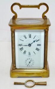 Antique French 8 day Duverdrey Bloquel Brass Carriage Clock w/ Alarm