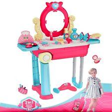 Makeup Vanity Table Kids Girls Toy Toddler Play Set Kit Mirror Desk Juguetes