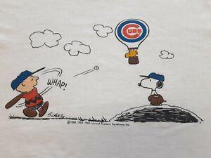 VTG 80s Snoopy x MLB Chicago Cubs Baseball Thin Soft Tee T Shirt WHT Large XL ??