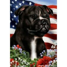 Patriotic (1) House Flag - Black and White Staffordshire Bull Terrier 16231
