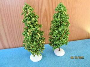 2 VINTAGE GREEN CHRISTMAS TREES FOR VILLAGES TOWNS MADE IN TAIWAN