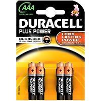 4 Duracell AAA Plus Power Duralock Alkaline Batteries Cell LR03 Non-Rechargeable
