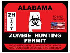 Alabama Zombie Hunting Permit (Bumper Sticker)