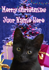 Black Cat Merry Christmas Xmas Tree Greeting Personalised Card A5 Any Name XM145