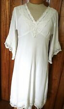 Soft Surroundings S White Gauzy Crinkle Cotton/Lace Dress Beach Cover-Up 2-Piece