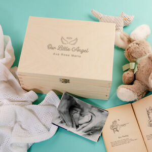 """Our Little Angel"" Personalised Baby Keepsake Memory Box - Baby Loss Gift"
