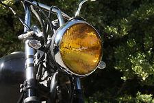 """Lucas style Cafe headlight 7"""" bullet Black & Chrome vintage sidemount AMBER lens"""