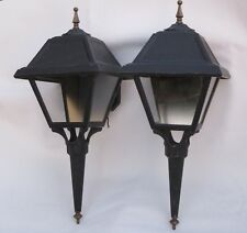 "Vintage Moe Lighting Pair Cast Aluminum Outdoor Porch Light Sconces 21"" Tall"