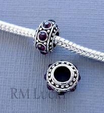 Lot 2 pcs Purple Beads Spacer Crystal Large hole fit European charm Bracelet C76