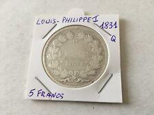5 F en argent Louis Philippe 1er 1831 Q - Tranche en relief