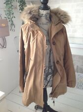 ladies Zara brown parka jacket with hood and faux fur trim good condition size S