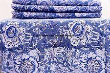 2.5 Yard Indian Floral Fabric Natural 100% Cotton Sanganeri Block Print Fabric