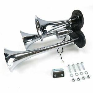 Chrome Tri-Tone Train Air Horn wi/ 12 volt Solenoid Valve Assembly Best Prices